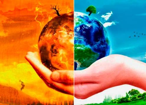 La bola del món sobre una mà